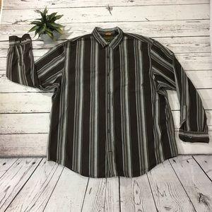 Timberland stripe button front long sleeve shirt